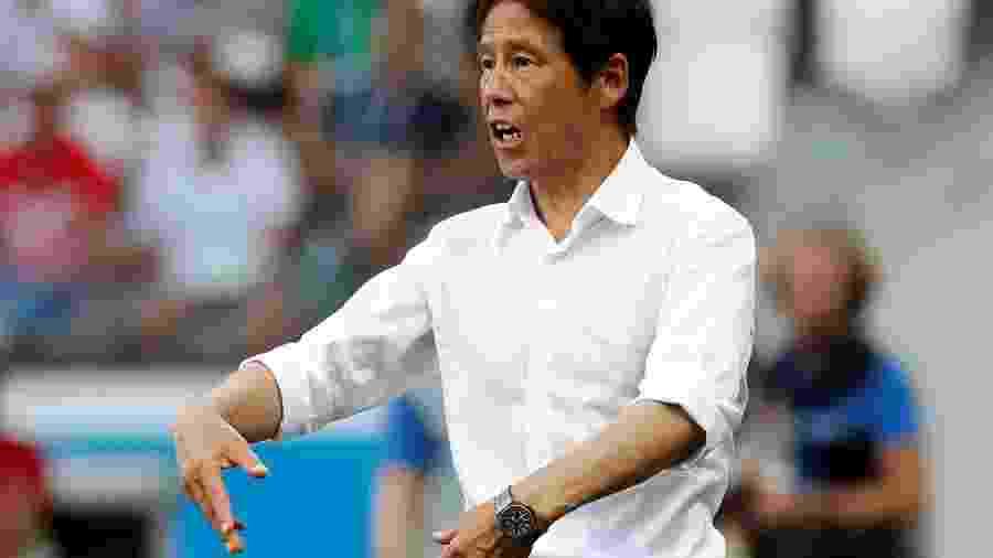 Akira Nishino durante a derrota do Japão para a Polônia - Toru Hanai/Reuters