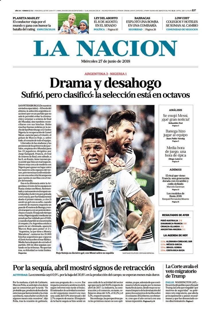 Reprodução da capa do jornal La Nacion após vitória da Argentina sobre a Nigéria