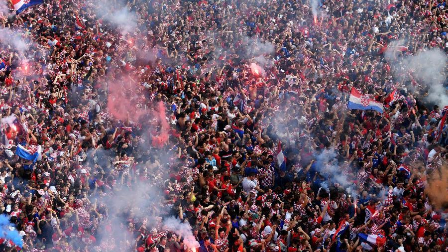 Torcida croata fez festa em Zagreb para a final da Copa do Mundo de 2018 contra a França - Andrej Isakovic/AFP Photo
