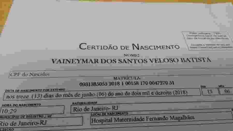 """Certidão de """"Vaineymar Batista"""" foi só uma brincadeira do pai com o cartório - Reprodução"""