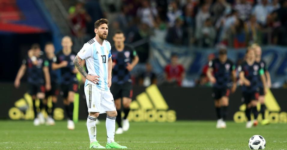 Messi lamenta durante derrota da Argentina para Croácia
