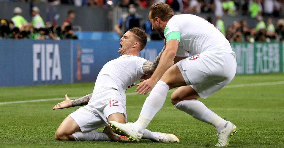Kieran Trippier, da Inglaterra, comemora depois de abrir o placar para sua equipe contra a Croácia