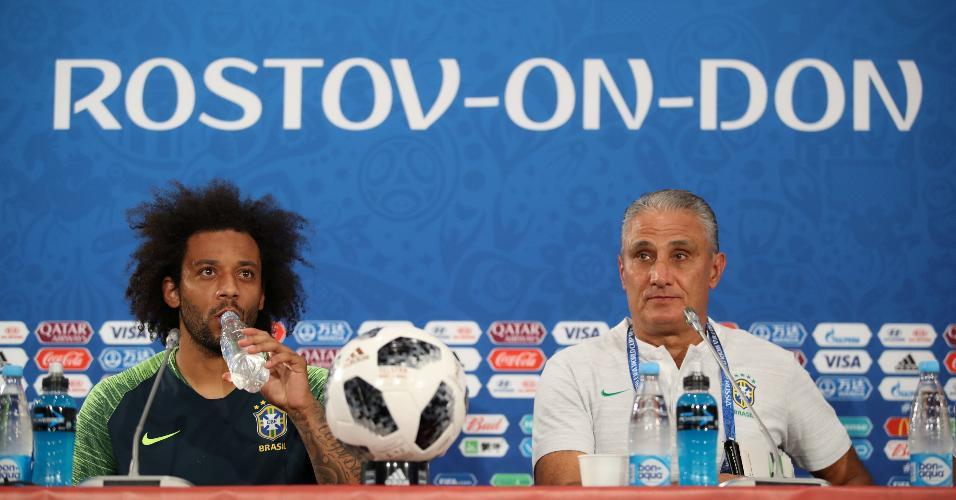 Marcelo e Tite concedem entrevista coletiva antes da estreia da seleção brasileira