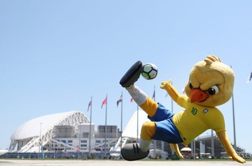 Canarinho pistola joga bola em Sochi