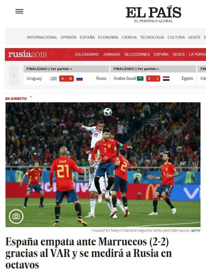 El País - Espanha 2 x 2 Marrocos