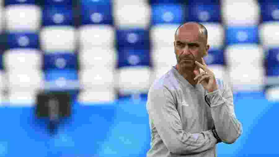 Roberto Martínez treina a Bélgica na véspera do jogo contra a Inglaterra - Gonzalo Fuentes/Reuters