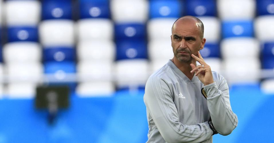 Roberto Martínez treina a Bélgica na véspera do jogo contra a Inglaterra