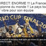 """BFM Sport ? canal de televisão: """"Enorme! França é campeã do mundo! O país inteiro vibra pelo time"""" - Reprodução"""