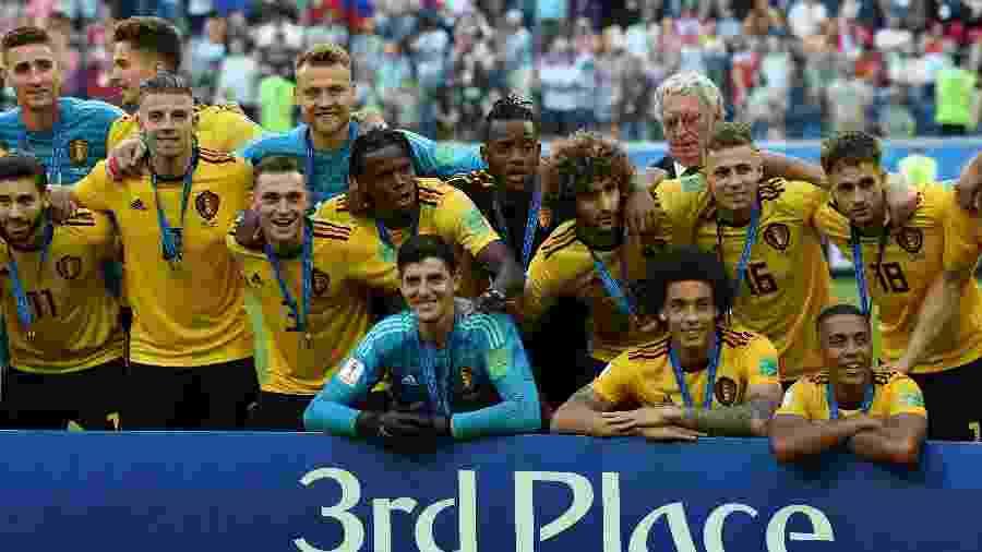 Jogadores da Bélgica celebram a conquista do 3º lugar na Copa do Mundo da Rússia - AFP PHOTO / PAUL ELLIS