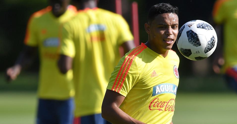 O atacante Luis Muriel durante treino da seleção colombiana na Rússia