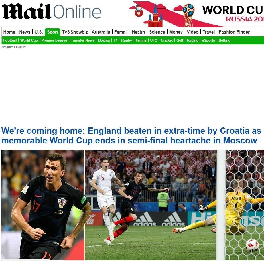 Jornal inglês Daily Mail lembra que ingleses estão voltando pra casa sem o título