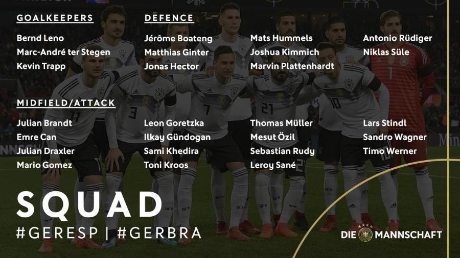 828c503926 Alemanha convoca oito remanescentes do 7 a 1 para amistoso contra o Brasil