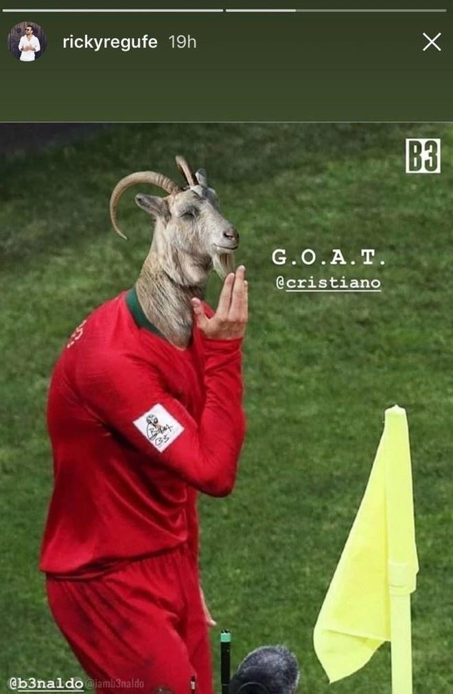 Amigo de Cristiano Ronaldo trocou rosto do jogador por um de bode