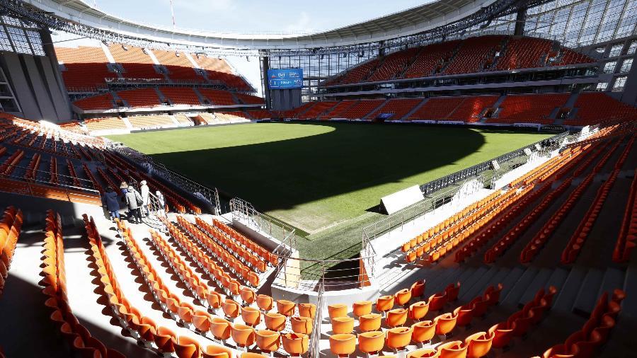 Arquibancadas de Ecaterimburgo ficam do lado de fora do estádio. Virou piada entre os uruguaios - Sergei Karpukhin/Reuters