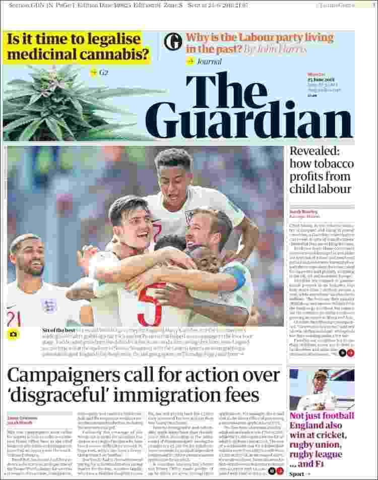 Capa do jornal The Guardian de segunda-feira (25) - Reprodução