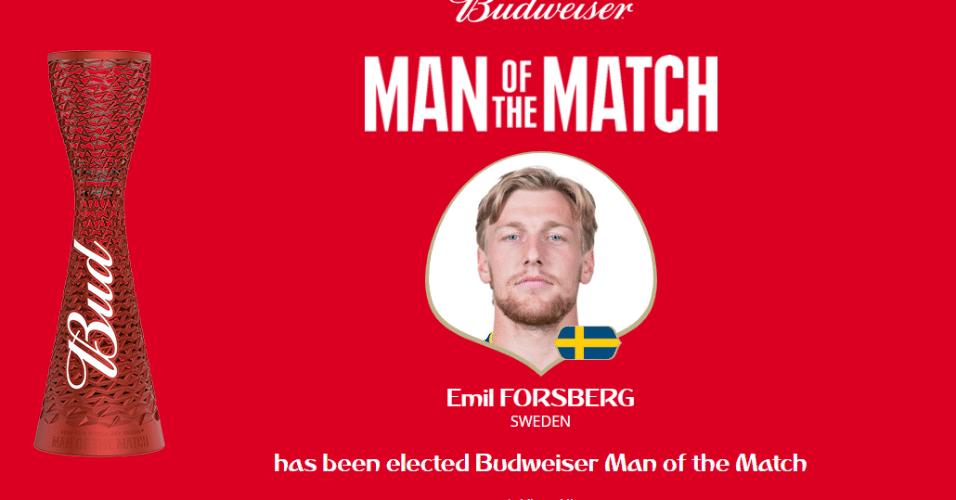 Autor do gol que leva a Suécia às quartas de final, Forsberg é eleito o melhor em campo do jogo contra a Suíça