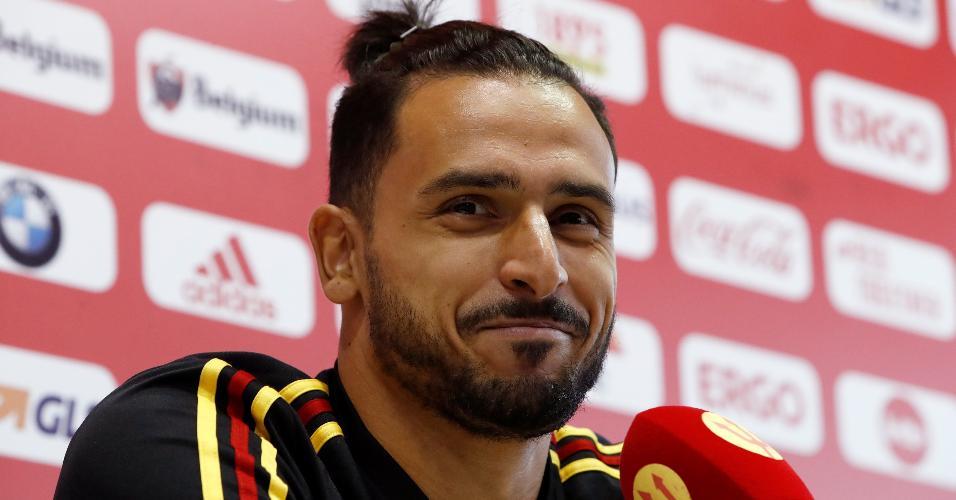 Nacer Chadli, da seleção da Bélgica, em entrevista coletiva