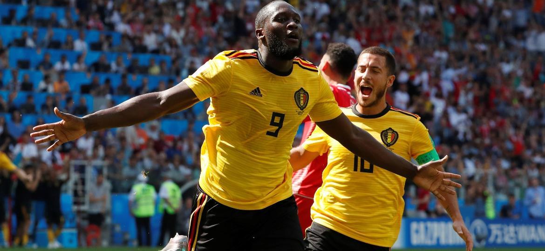 Romelu Lukaku comemora gol no duelo Bélgica x Tunísia - Grigory Dukor/Reuters
