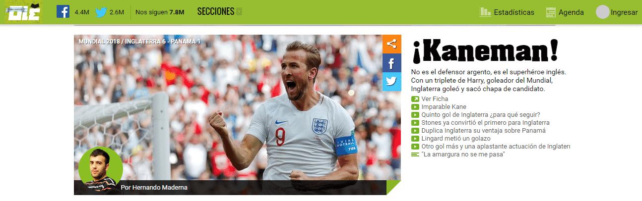 O diário argentino Olé destaca a vitória da Inglaterra por 6 a 1 - Reprodução