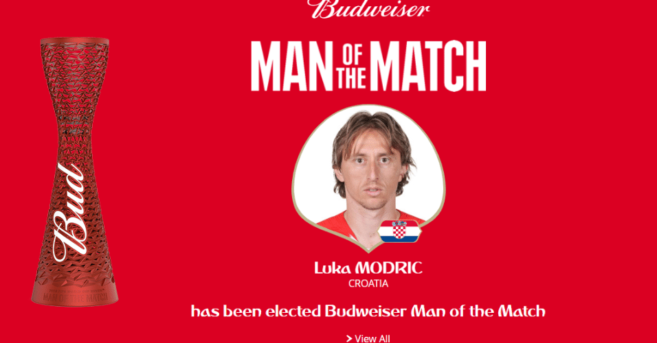 Maestro do meio campo croata, Modric é eleito o melhor em campo de Croácia x Rússia
