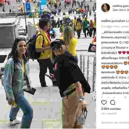 Marquezine assistiu ao jogo da seleção brasileira junto da família de Neymar - Reprodução/Instagram