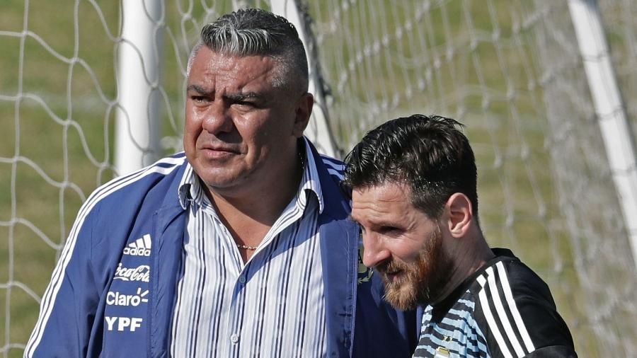 Claudio Tapia, presidente da AFA, e Messi - Alejandro Pagni/AFP