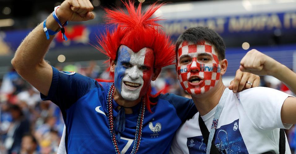 Torcedores de Croácia e França antes da final da Copa do Mundo da Rússia