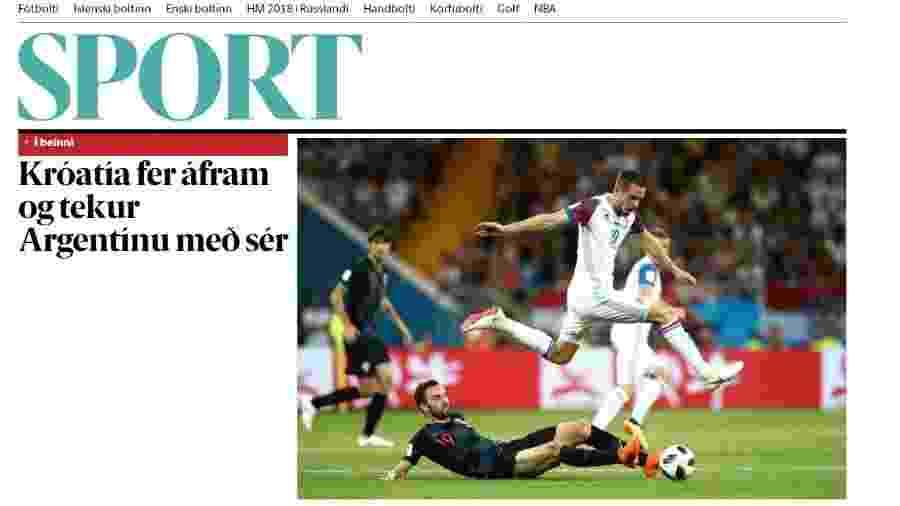"""Site do jornal islandês """"Frettabladid"""" destaca a eliminação na Copa do Mundo - Reprodução"""