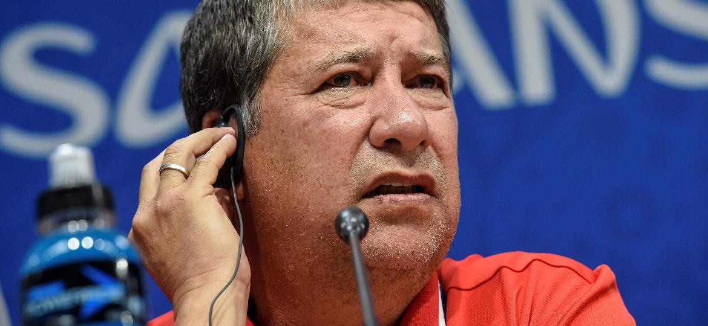 Técnico do Panamá, Hernán Darío Gómez, durante coletiva de imprensa - JUAN BARRETO/AFP