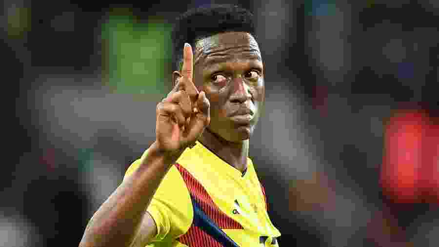 Yerry Mina foi o destaque da Colômbia na Copa, com três gols marcados - AFP PHOTO / YURI CORTEZ