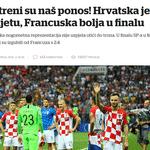 """Vecernji: """"Vatreni é o nosso orgulho! Croácia é a segunda no mundo. França é melhor na final"""" - Reprodução"""
