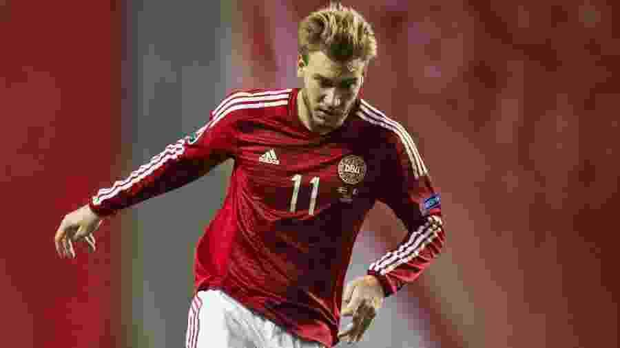 O atacante Nciklas Bendtner, da seleção da Dinamarca - Odd Andersen/AFP