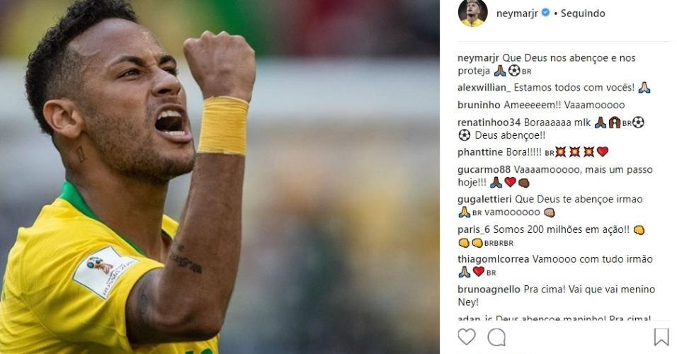 Neymar posta foto antes de enfrentar a Bélgica: