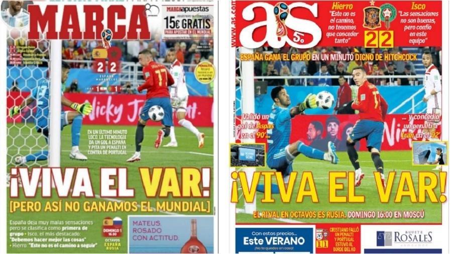 """Concorrentes, """"Marca"""" e """"AS"""" parecem ser o mesmo jornal nesta terça-feira  - Reprodução/Marca/AS"""