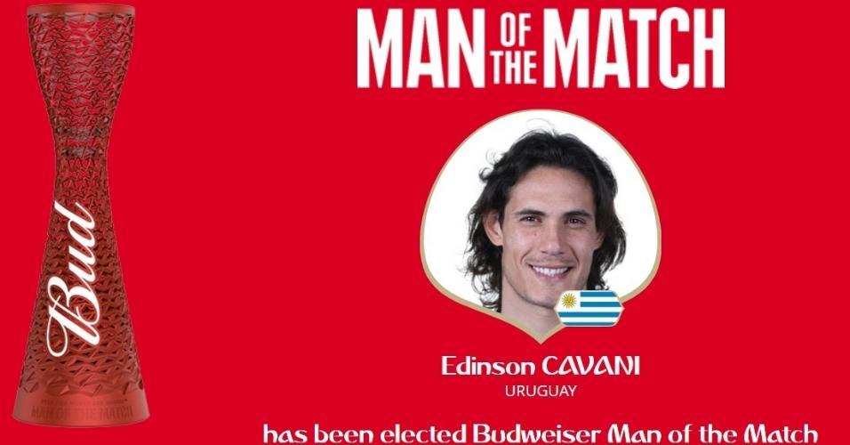 Autor de dois gols, Edinson Cavani é eleito o ?homem do jogo? em duelo entre Uruguai e Portugal