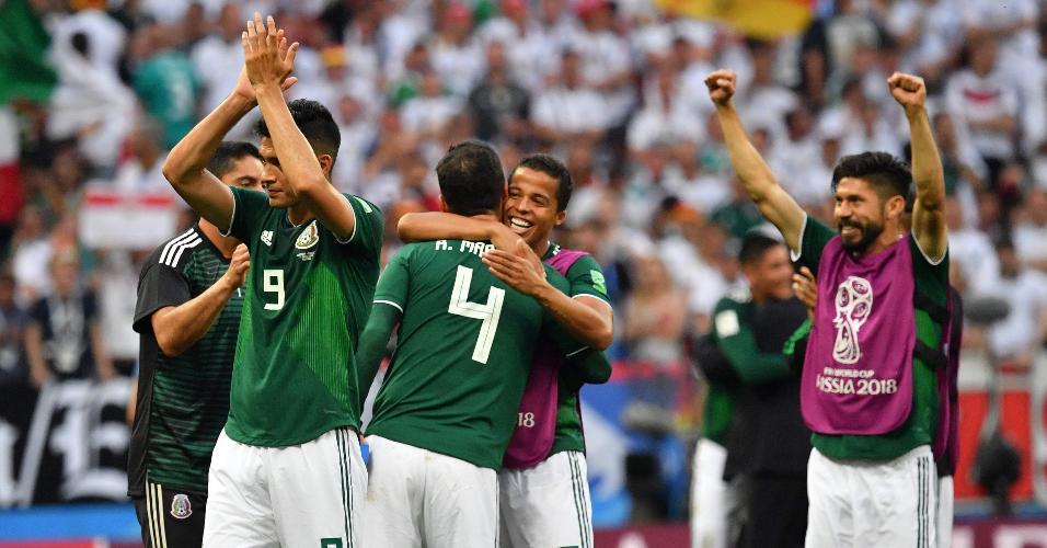 Jogadores do México comemoram vitória sobre a Alemanha na abertura da Copa do Mundo