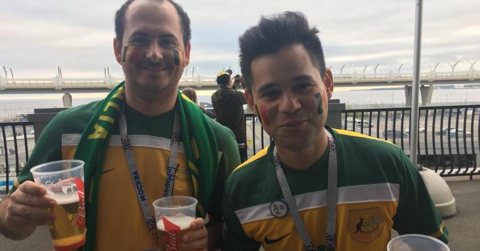 Mark e David, australianos na torcida pela Bélgica.