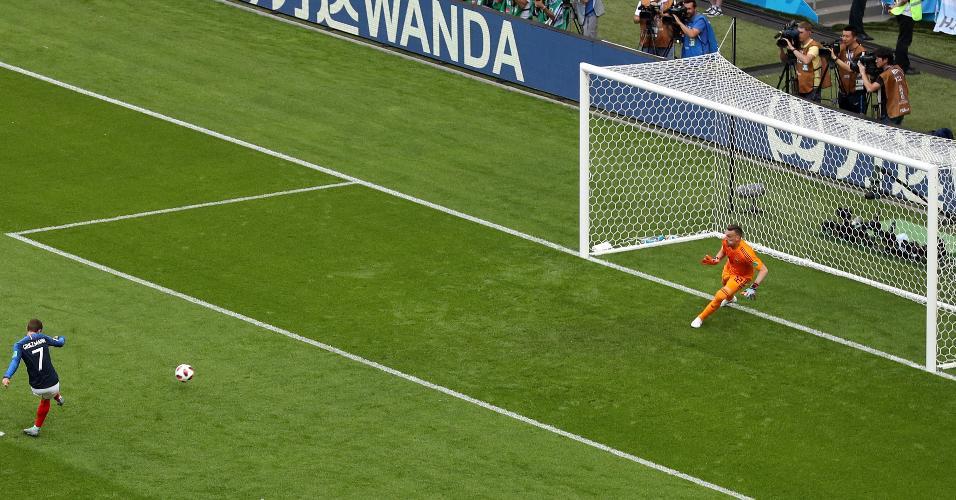 Griezmann abre o placar de pênalti para a França no duelo contra a Argentina