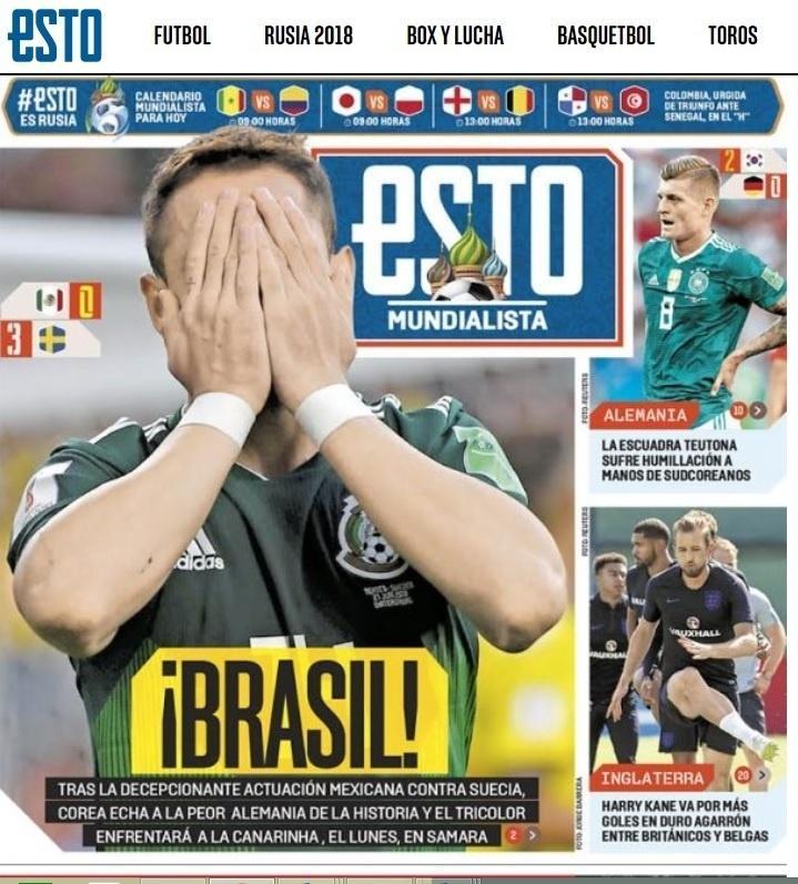 f63e8247b4 México na Copa 2018  Jornal mexicano lamenta ter Brasil pelo caminho nas  oitavas da Copa - UOL Copa do Mundo 2018