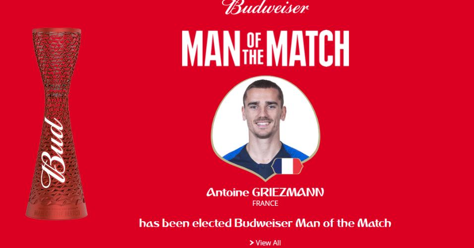 Autor do segundo gol da França contra a Croácia, Griezmann é eleito o melhor jogador da final da Copa do Mundo