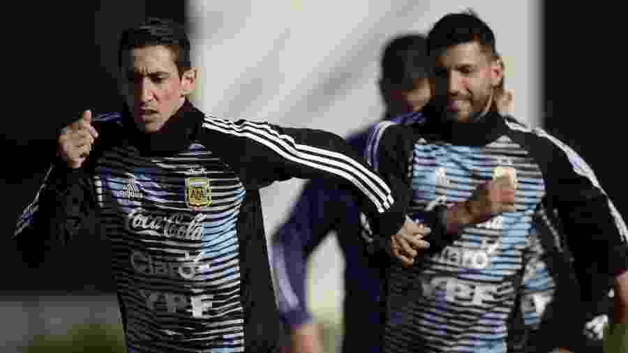 Di María faz seu primeiro treino com a Argentina na preparação para a Copa - JUAN MABROMATA/AFP