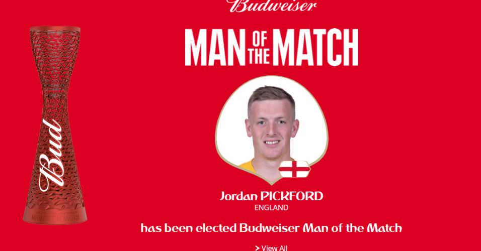 Salvador inglês com defesas importantes, goleiro Pickford é eleito o melhor em campo de Suécia x Inglaterra