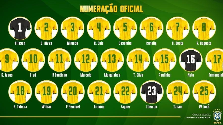 Numeração da seleção brasileira para os amistosos contra Rússia e Alemanha - Divulgação