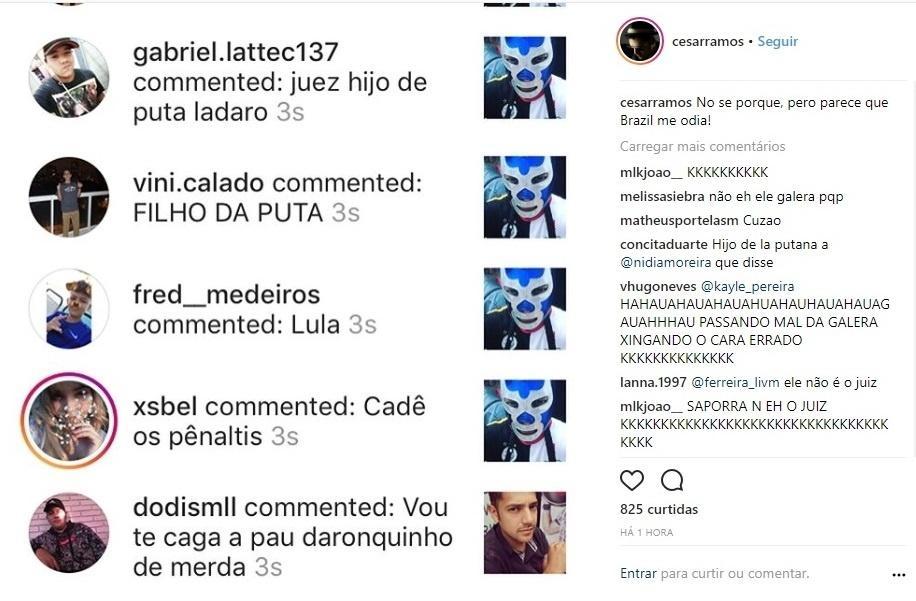Instagram de homônimo do árbitro mexicano Cesar Ramos foi atacado por brasileiros
