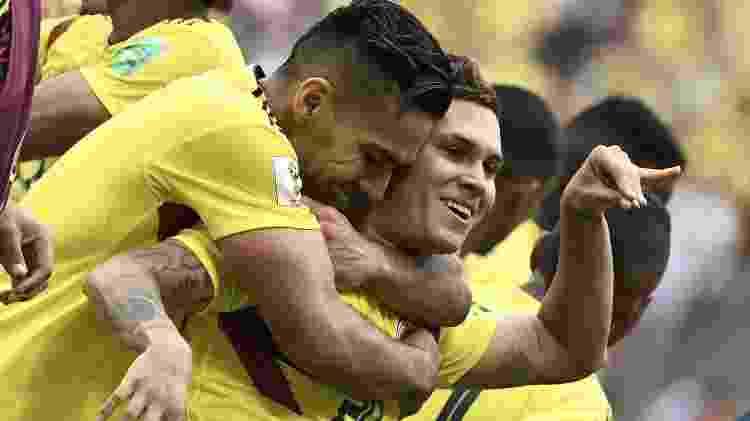 Juan Quintero comemora gol contra Japão - Filippo Monteforte/AFP