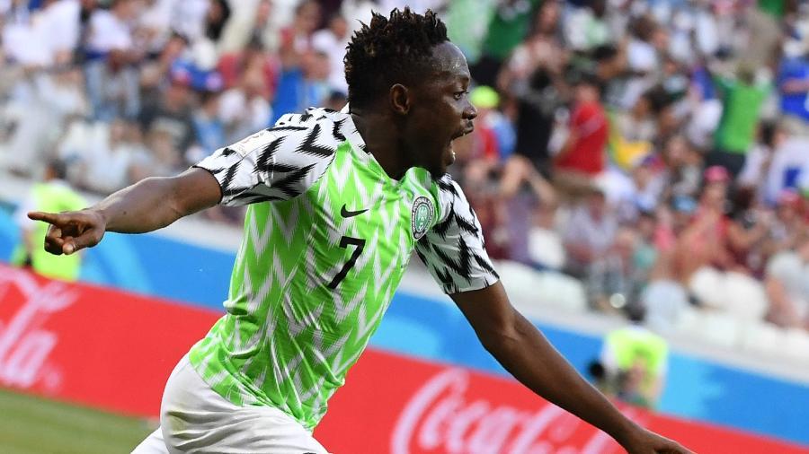 Musa comemora Nigéria Islândia Copa do Mundo 2018 - Mark Ralston/AFP