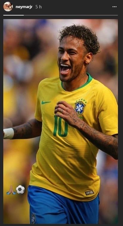 Neymar comemora após marcar golaço contra a Áustria