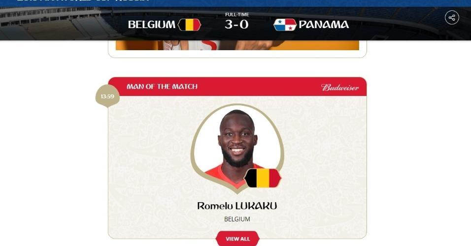 Lukaku é eleito o melhor jogador de Bélgica x Panamá