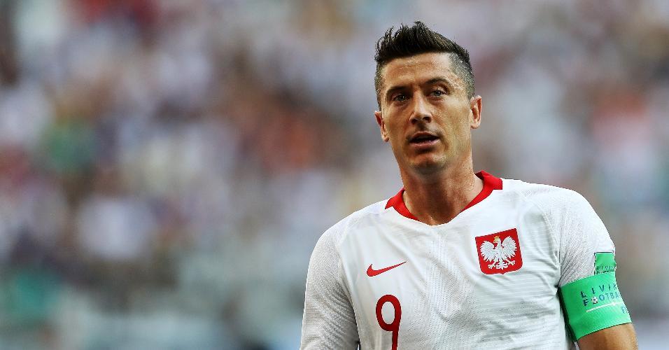 Robert Lewandowski durante jogo Japão x Polônia