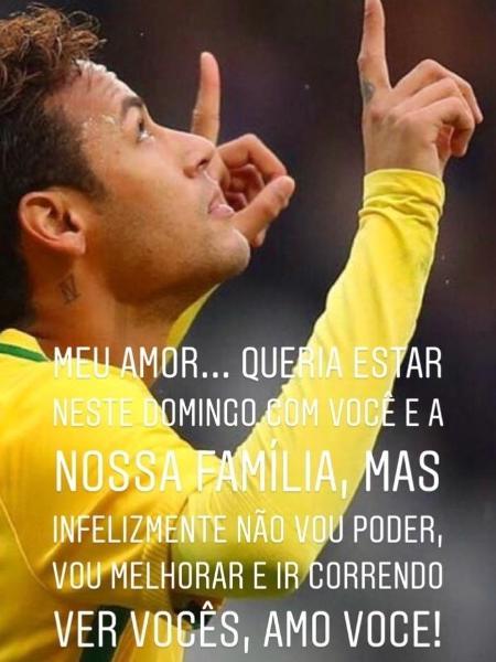 Irmã de Neymar enviou mensagem de apoio ao craque - reprodução/Instagram